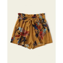 Exclusive Fashion Floral Belted Shorts with Bow Tie