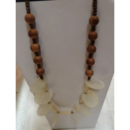 Lilibit Creation Necklace Visually Outstanding, Medium Length, Mix of Coconut-looking Wood and Mother of Pearl - One of a Kind