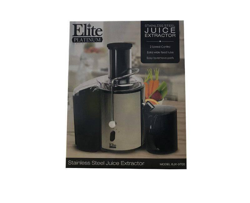 Elite Platinum 2 Speed Wide Feed Tube Stainless Steel Juice Extractor