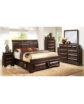 033A 6 PCS Bedroom Set-Brown-Queen