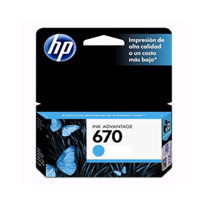 HPc CZ114AL 670 Cyan Ink Cartridge 300 pages