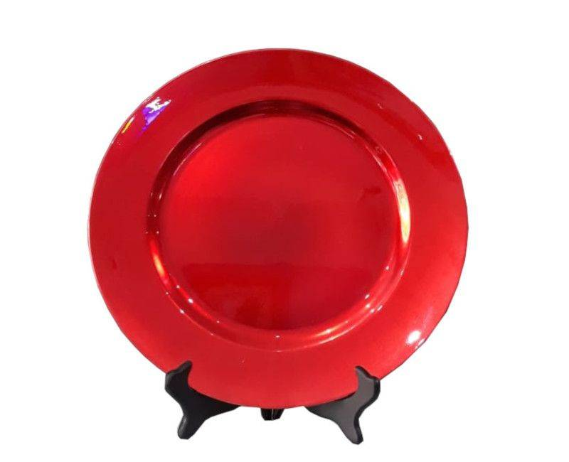 13 Red Round Charger Plates