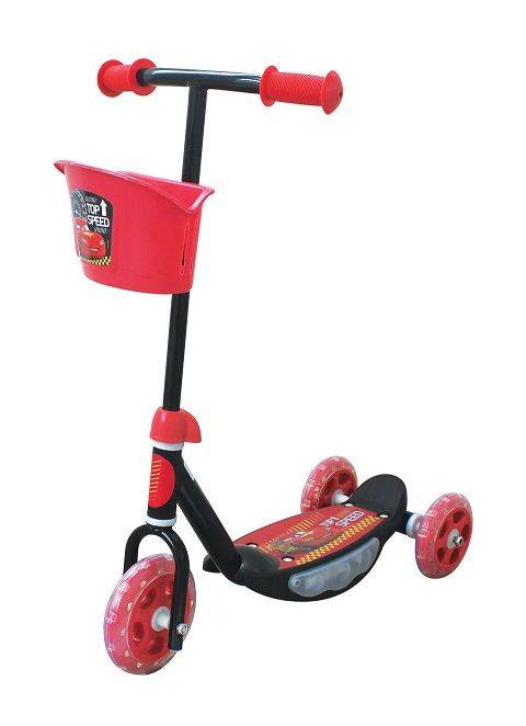 Disney Cars 3 Wheel Scooter with Basket