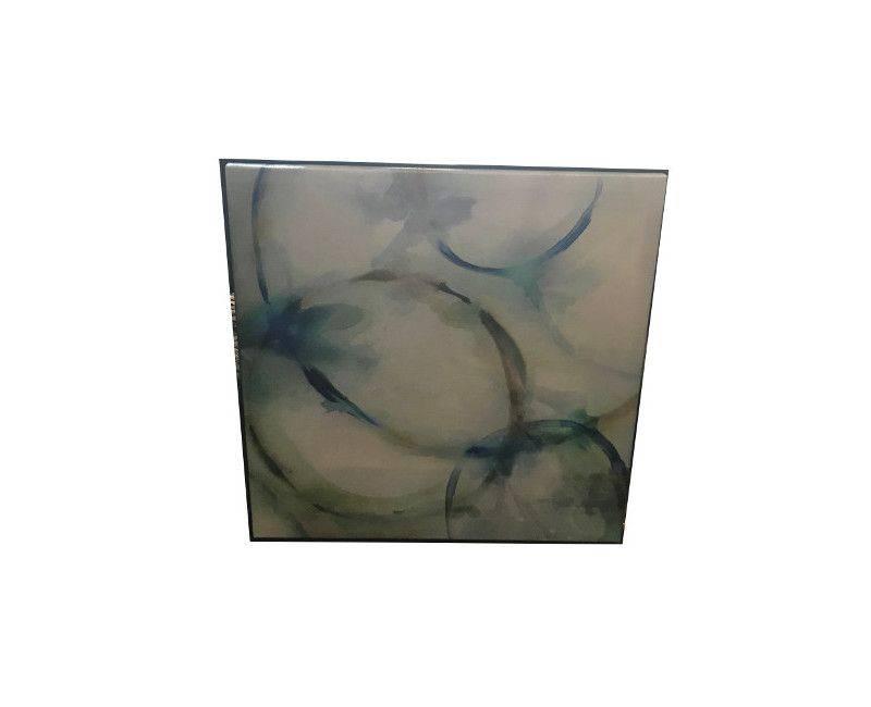 White Base Blue Circle Painting Wall Art