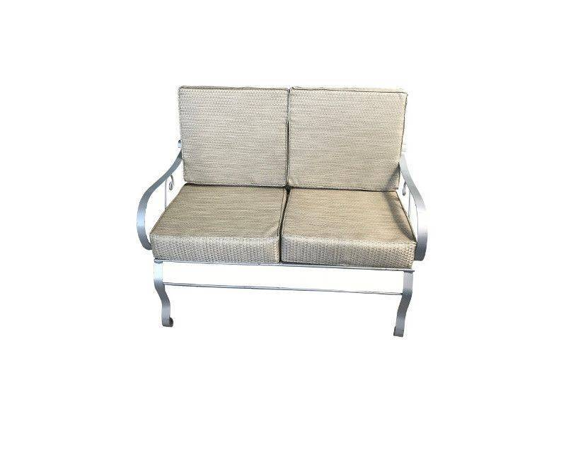 Double seater patio set with metal arms and metal legs