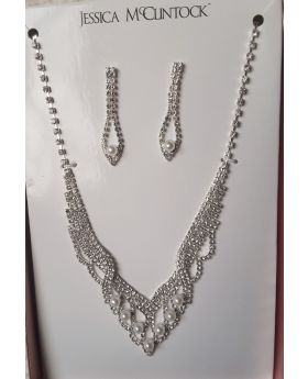 Silver Bridal Crystal Necklace and Earrings Jewelry Set