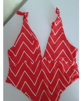 Zig Zag Tie Shoulder Swimwear