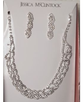 Silver Crystal Tear Drop Necklace and Earring Jewelry Set