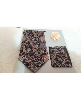 Lapel Pin and Floral Necktie Hankerchief Set for Men