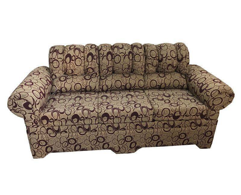 3 Seater sofa couch with beige tone base and a wine colored circular print