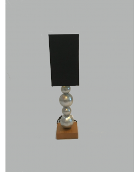 Veneer Table Lamp Brushed Silver with Black Shade