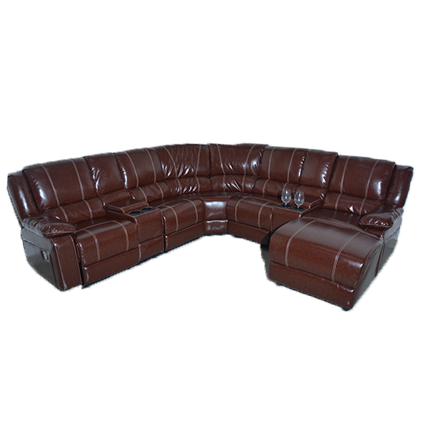 7 Piece Leatherette Sectional - Brown Full Set