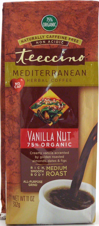 Teeccino Caffeine-Free Herbal Coffee Alternative -VanillaNut 11oz 75% Organic -30 servings