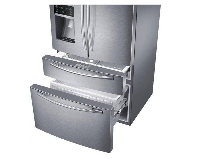 Samsung RF25HMEDBSR/AA Stainless Steel 4-Door Refrigerator - Lower Drawers