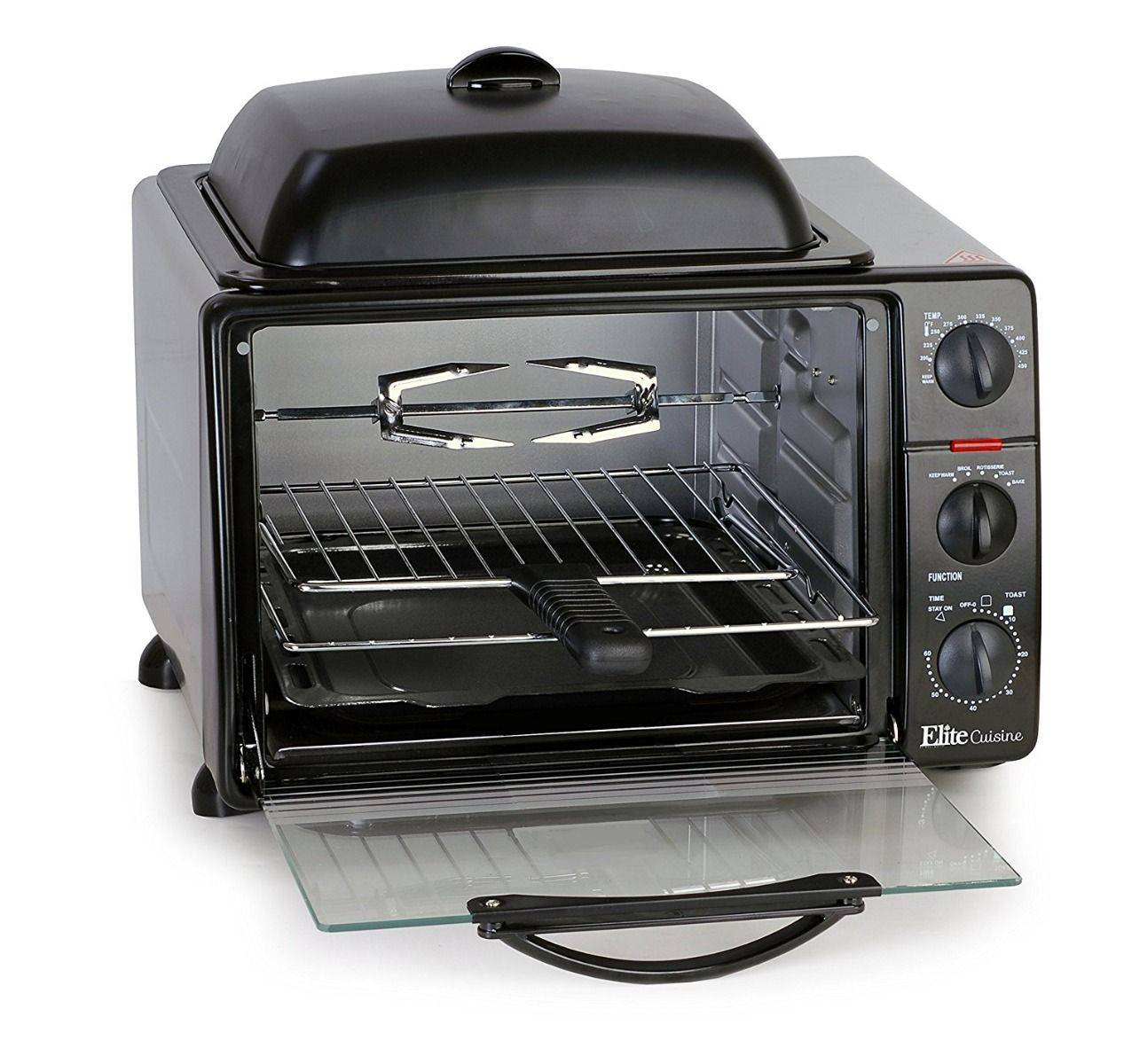 Elite Cuisine 6-Slice Toaster Oven with Rotisserie and Grill/Griddle Top