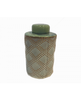 Adeline Lidded Decorative Vase in Green