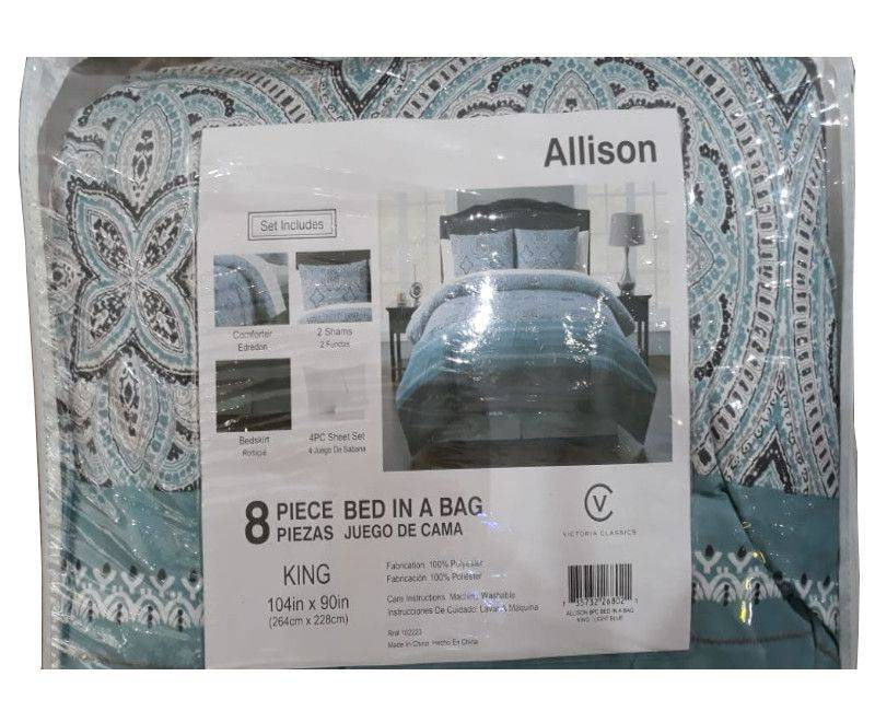Victoria Classics Allison 8 piece Comforter Set King - Light Blue