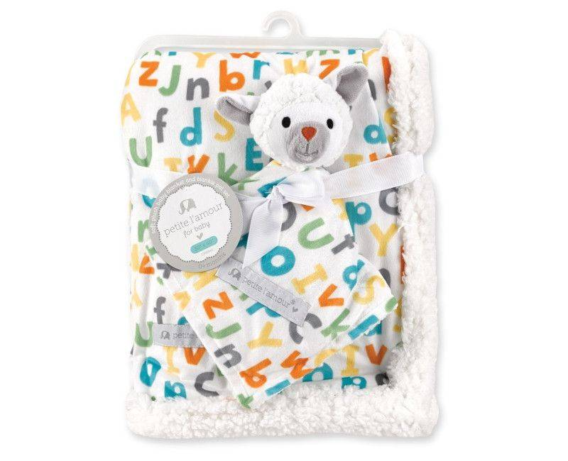 Alphabet Soft Plush Baby Blanket with Blankie Pal
