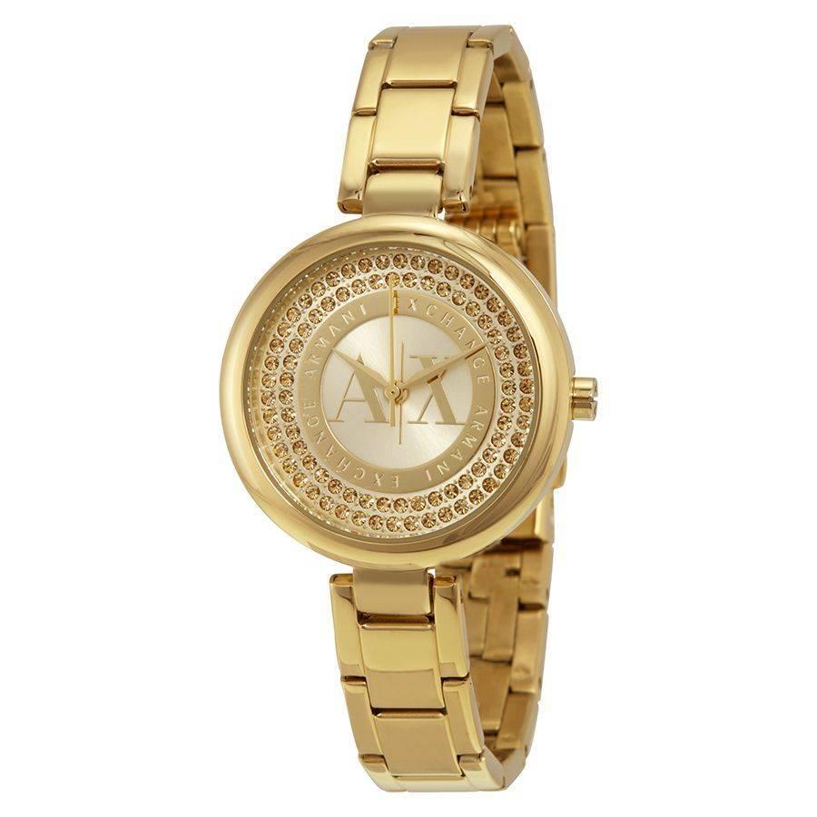 Armani Exchange Gold-Tone Crystal Dial Ladies Watch AX4221
