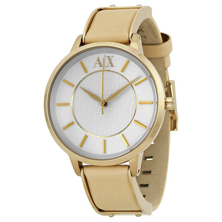 Armani Exchange White Dial Beige Leather Ladies Watch