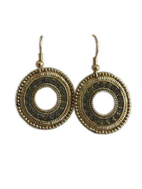 Women Sun Tan Attitude Textured Loops W/Golden Tone Hook Drop Earrings