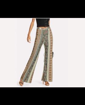Aztec Print Flare Hem Pants