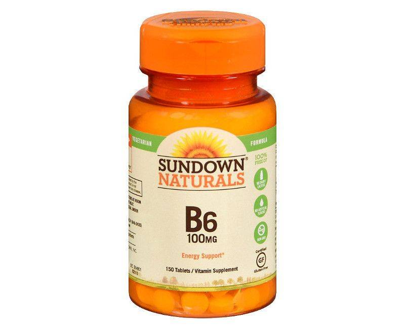Sundown Naturals Vitamin B6 100mg 150 Tablets - For Energy Support