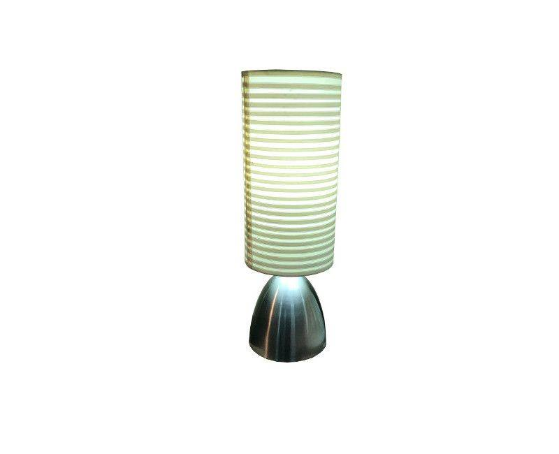 Brushed silver base with long cylindrical shade lamp