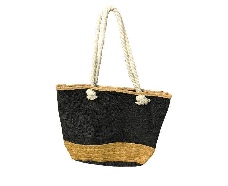 Black canvas tote beach bag with rope handles