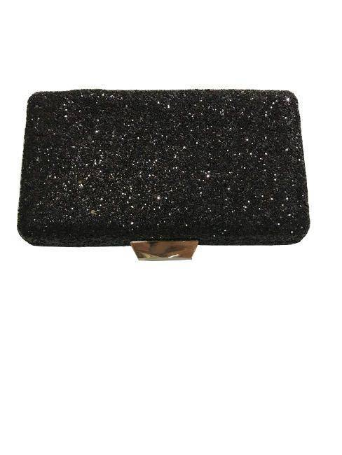 Classic Evening Black Glitter Hardcase Clutch Purse Handbag With Silver Buckle For Closing