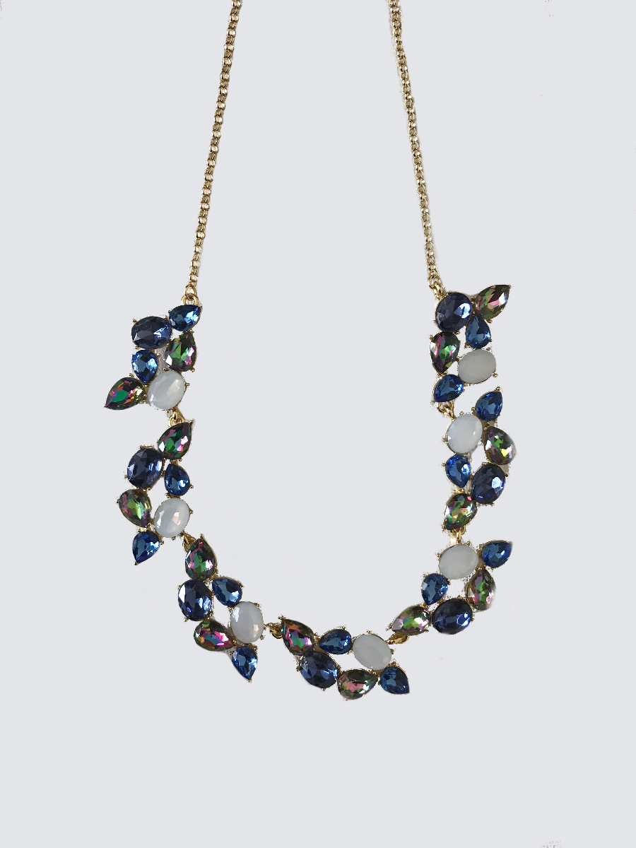Statement Necklace With Shades Of Blue Stones