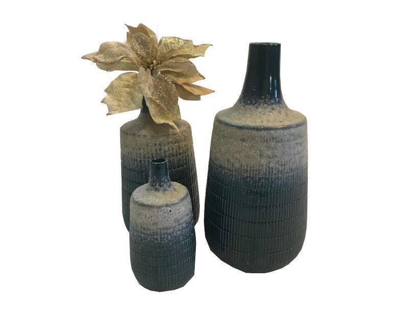 Decorative Ceramic Dark Green Textured Body Vase - Small