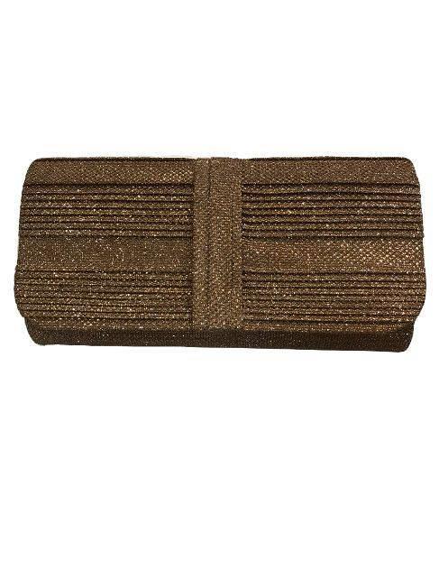 Bronze Metallic Glitter Flapover Bag Clutch Purse For Elegant Evening Wear