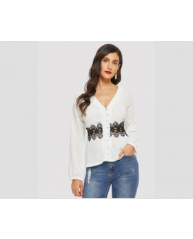 Button Front Guipure Lace Panel Top