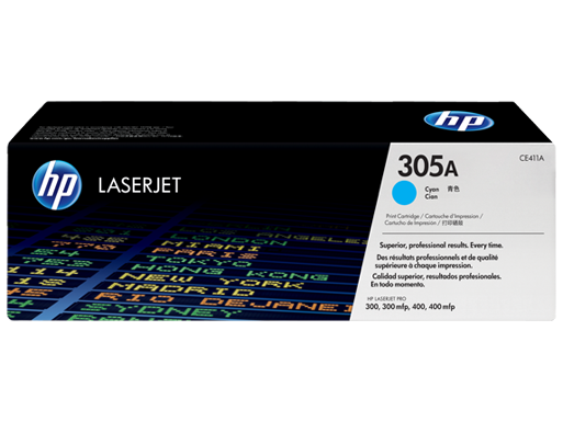 HP CE411A 305A Cyan LaserJet Toner Cartridge - 2600 pages