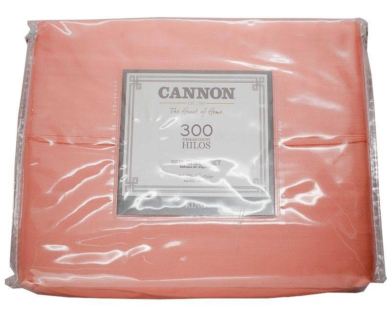 Cannon The Heart Of Home 4 Piece King Bed Sheet Set 300 Thread Count Coral
