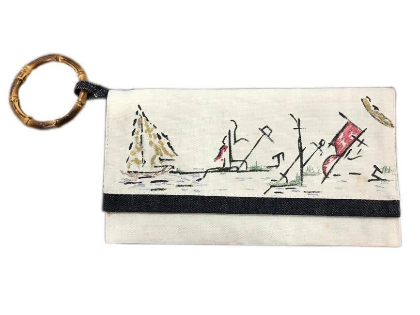 Mema Designed Canvas Denim Handmade Art Clutch Wooden Handle Purse Bag