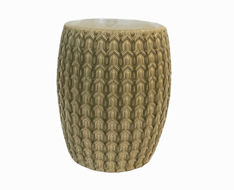 Ceramic Textured Garden Stool in Earth Tones