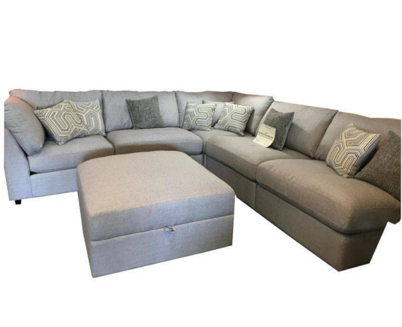 Charlotte Grey 5 Piece L-Shaped Sectional with Ottoman