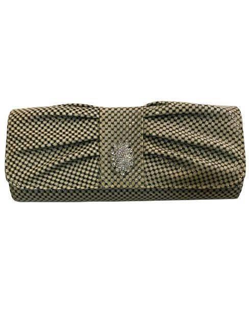 Off White/Black Checkered Geometric Rectangular Clutch Rhinestone Embellishment Open Close Flap Purse Handbag