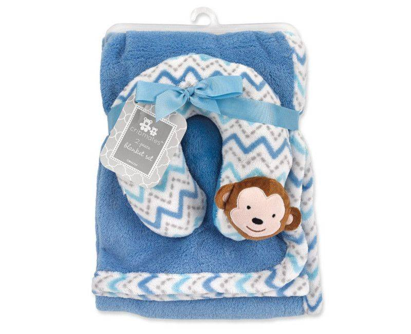 Chevron Monkey Plush Blanket w' Neck Pillow