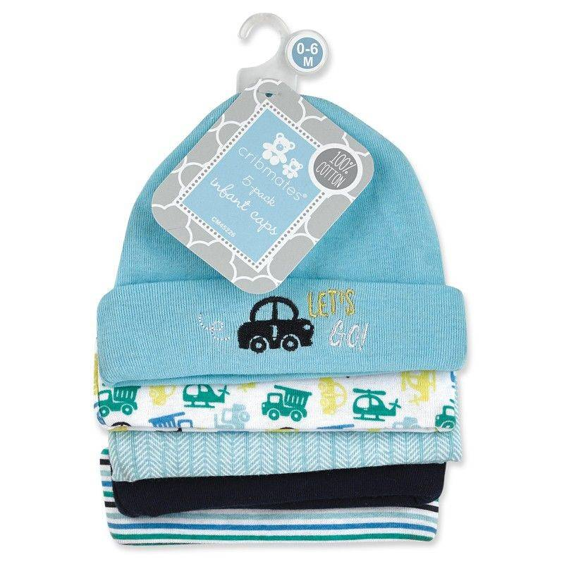 Cribmates Let's Go 5 Pack Baby Hats