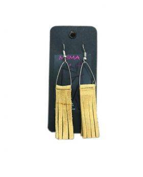 Mema Designed Women's Flat Camel Leather Tassel Bohemian Statement Earrings