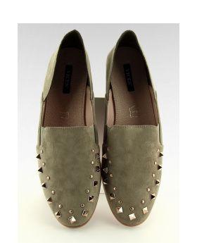 Olive studded Mocassin/Loafer--Size:9