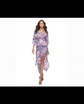 Deep V Neck National Printed Split Hem Maxi Dress