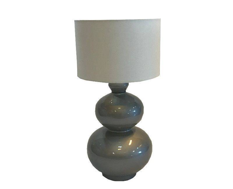 Double Layer Round, Grey Base Table Lamp with White Shade