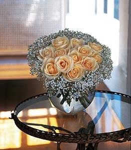 Dozen White Roses Floral Arrangement