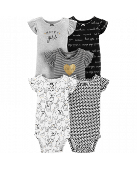 Carter's 5-Pack Flutter-Sleeve Bodysuits