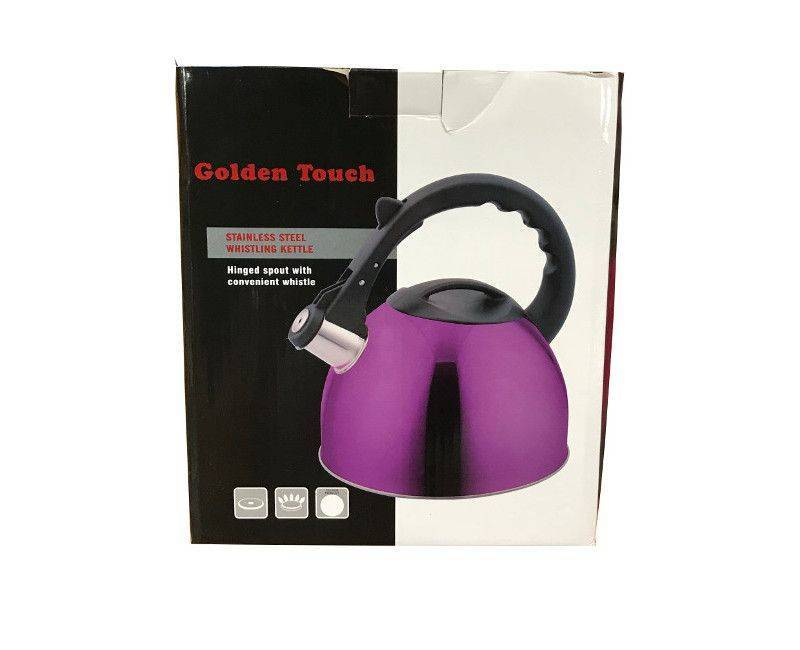 Golden Touch stainless steel whistling hinged spout kettle
