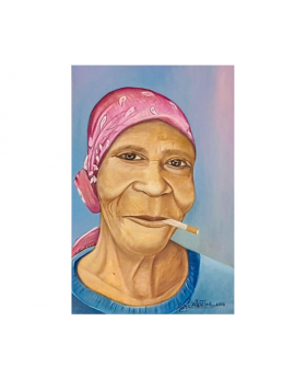 Grandma Smoking Oil Canvas Painting